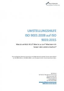 UMSTELLUNGSHILFE ISO 9001:2008 auf ISO 9001:2015