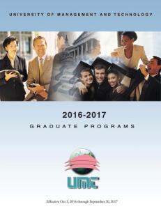 UMT Graduate Programs Winter Semester Spring Semester Summer Semester