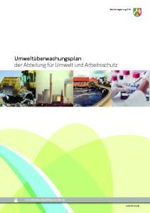 Umweltüberwachungsplan der Abteilung für Umwelt und Arbeitsschutz