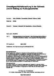 Umweltgeschichtsforschung in der Schweiz und ihr Beitrag zur Kulturgeschichte