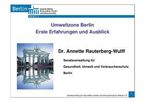 Umweltzone Berlin Erste Erfahrungen und Ausblick