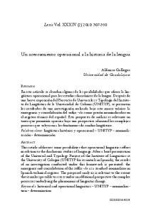 Un acercamiento operacional a la historia de la lengua