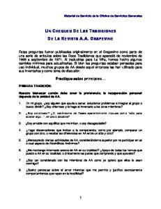 UN CHEQUEO DE LAS TRADICIONES DE LA REVISTA A.A. GRAPEVINE