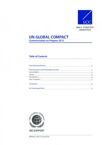 UN GLOBAL COMPACT Communication on Progress 2013