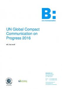 UN Global Compact Communication on Progress 2016