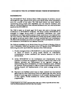 UN-HABITAT YOUTH ADVISORY BOARD TERMS OF REFERENCE
