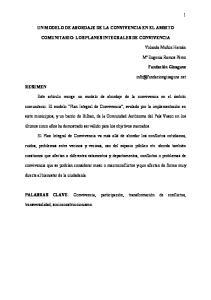 UN MODELO DE ABORDAJE DE LA CONVIVENCIA EN EL AMBITO COMUNITARIO: LOS PLANES INTEGRALES DE CONVIVENCIA