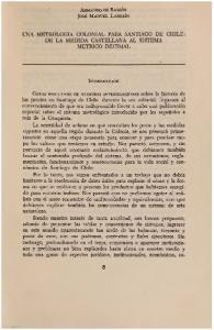 UNA METROLOGIA COLONIAL PARA SANTIAGO DE CHILE: DE LA MEDIDA CASTELLANA AL SISTEMA METRICO DECIMAL