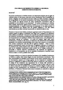 UNA MIRADA RETROSPECTIVA SOBRE LA ASAMBLEA CONSTITUYENTE EN BOLIVIA