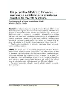 Una perspectiva didáctica en torno a los contextos y a los sistemas de representación semiótica del concepto de máximo