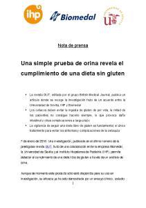 Una simple prueba de orina revela el cumplimiento de una dieta sin gluten