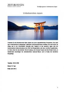 Unbekanntes Japan. Detailprogramm: Unbekanntes Japan