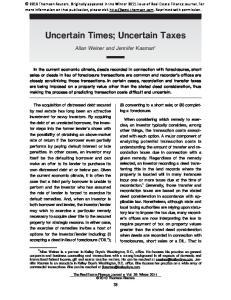 Uncertain Times; Uncertain Taxes