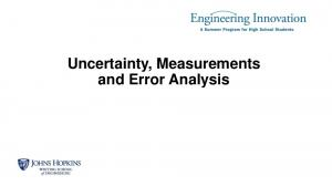 Uncertainty, Measurements and Error Analysis