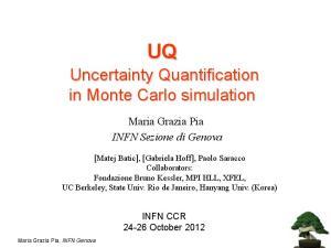 Uncertainty Quantification in Monte Carlo simulation