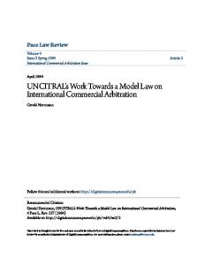 UNCITRAL's Work Towards a Model Law on International Commercial Arbitration