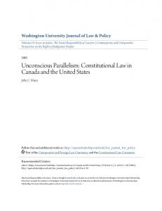 Unconscious Parallelism: Constitutional Law in Canada and the United States