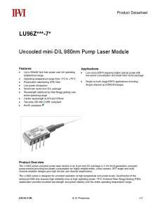 Uncooled mini-dil 980nm Pump Laser Module. Applications