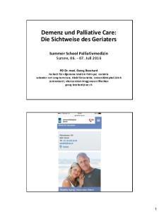 und Palliative Care: Die Sichtweise des Geriaters