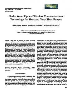 Under Water Optical Wireless Communications Technology for Short and Very Short Ranges