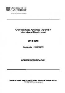Undergraduate Advanced Diploma in International Development
