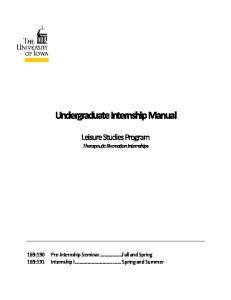 Undergraduate Internship Manual