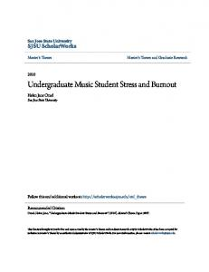 Undergraduate Music Student Stress and Burnout