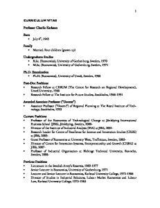 Undergraduate Studies B.Sc. (Economics), University of Gothenburg, Sweden, 1970 M.Sc. (Economics), University of Gothenburg, Sweden, 1971