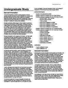 Undergraduate Study. General Information. General Information. Undergraduate Study 1