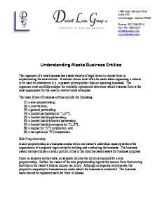 Understanding Alaska Business Entities