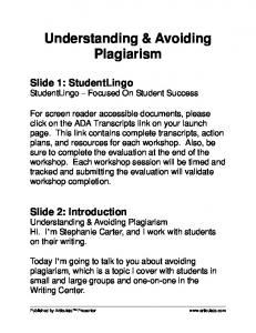 Understanding & Avoiding Plagiarism