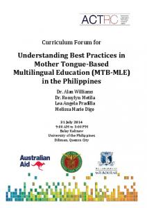 Understanding Best Practices in Mother Tongue-Based Multilingual Education (MTB-MLE) in the Philippines
