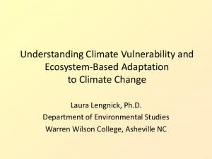 Understanding Climate Vulnerability and Ecosystem-Based Adaptation to Climate Change