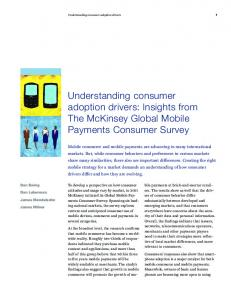 Understanding consumer adoption drivers: Insights from The McKinsey Global Mobile Payments Consumer Survey