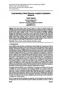 Understanding Critical Discourse Analysis in Qualitative Research
