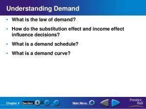 Understanding Demand. Chapter 4 Section Main Menu