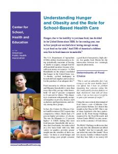 Understanding Hunger and Obesity and the Role for School-Based Health Care
