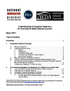 Understanding Immigration Detainers: An Overview for State Defense Counsel 1