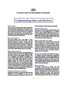 Understanding Islam and Muslims