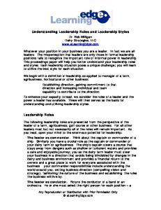 Understanding Leadership Roles and Leadership Styles