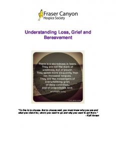 Understanding Loss, Grief and Bereavement