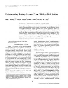 Understanding Teasing: Lessons From Children With Autism