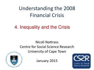 Understanding the 2008 Financial Crisis