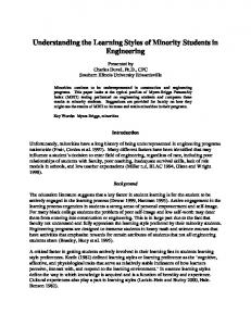 Understanding the Learning Styles of Minority Students in Engineering