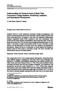 Understanding the Personal Goals of Black Male Community College Students: Facilitating Academic and Psychosocial Development