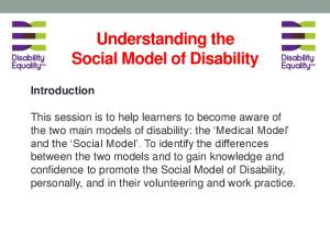 Understanding the Social Model of Disability Introduction