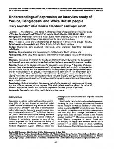 Understandings of depression: an interview study of Yoruba, Bangladeshi and White British people