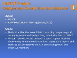 UNECE Project Dangerous Goods Events database