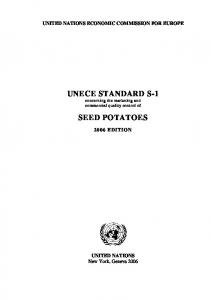 UNECE STANDARD S-1 concerning the marketing and commercial quality control of SEED POTATOES