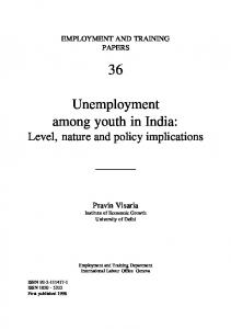 Unemployment among youth in India: Level, nature and policy implications